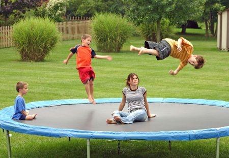 children on trampoline