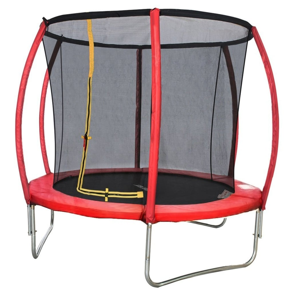 Merax Red Round Trampoline with Safety Enclosure Set