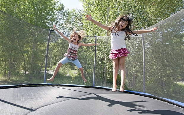 kids doing fun things to do on a trampoline