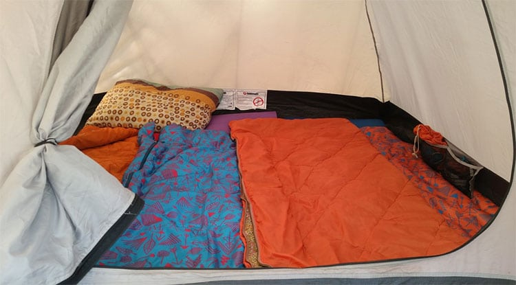Sleeping bag inside the tent