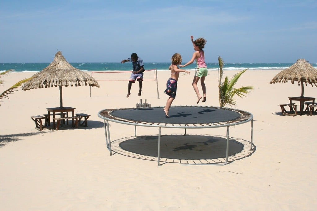 trampoline with happy childrens
