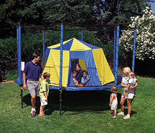 family outside around trampoline with tent assembled inside