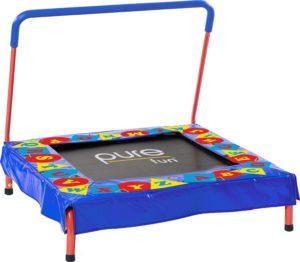 "Pure Fun Kids Preschool Jumper: 36"" Mini Trampoline with Handrail,"