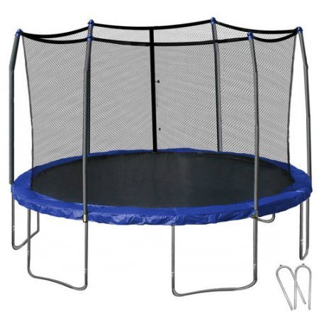 Skywalker Trampolines 14' Round Trampoline and Enclosure with Wind Stakes