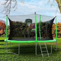 a green merax trampoline