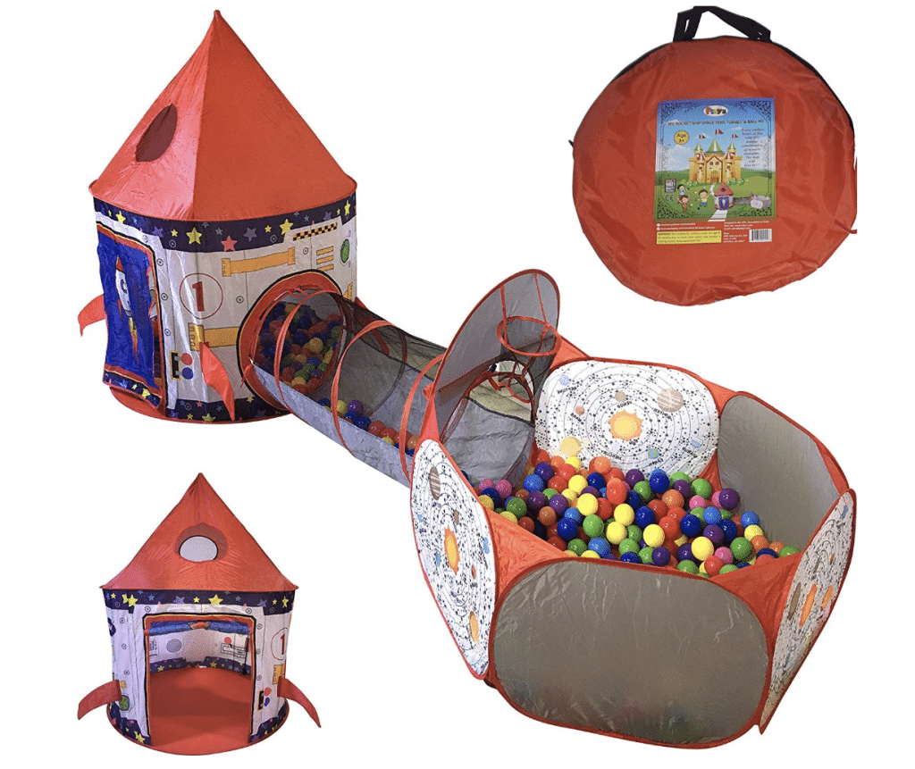 toddler ball pit - Playz 3pc Rocket Ship Astronaut Kids Play Tent, Tunnel, & Ball Pit