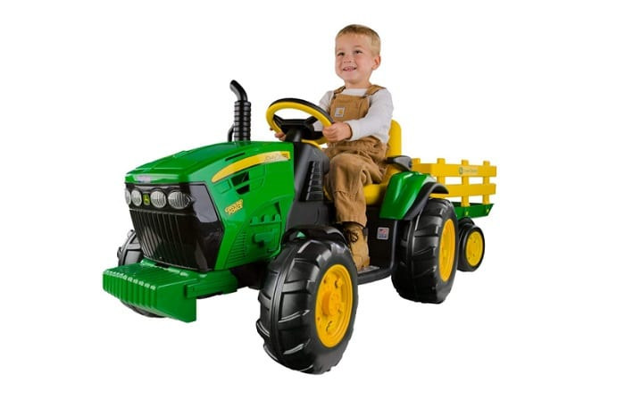 Peg Perego John Deere Ground Force Tractor with Trailer as backyard games