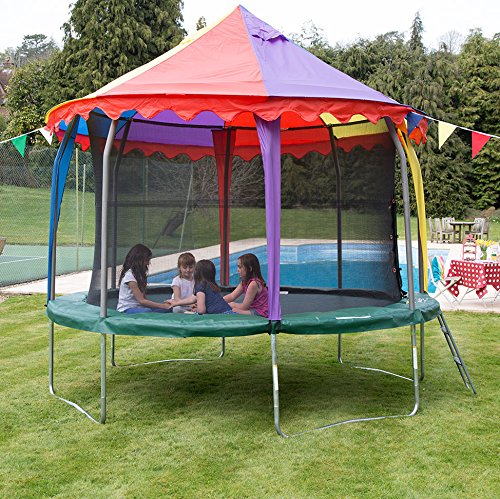 little girls playing inside a trampoline tent or trampoline canopy