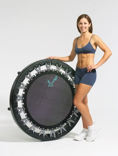 woman holding a trampoline