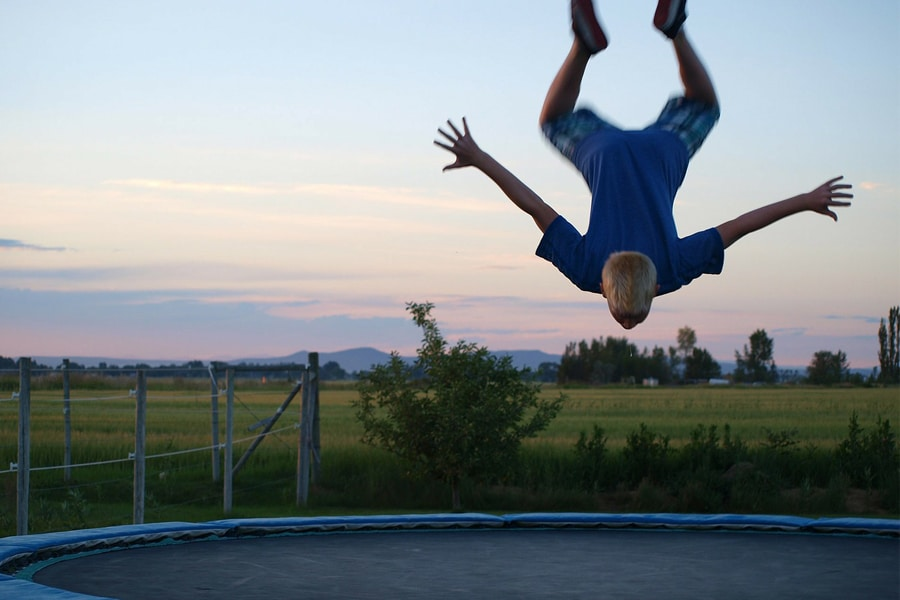 Man playing trampoline