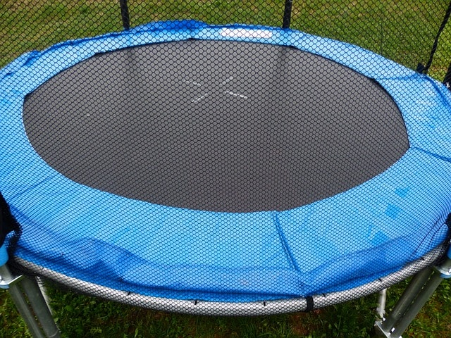 trampoline with a net canopy installed