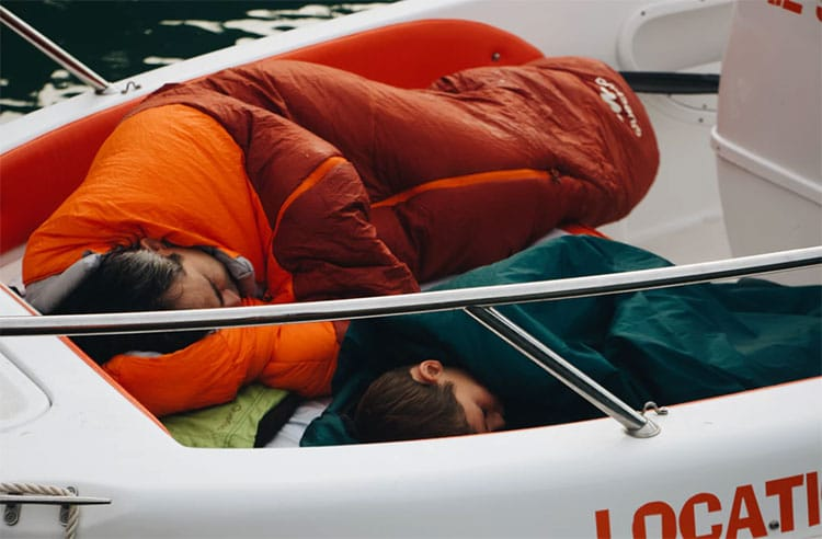 Person sleeping on boat